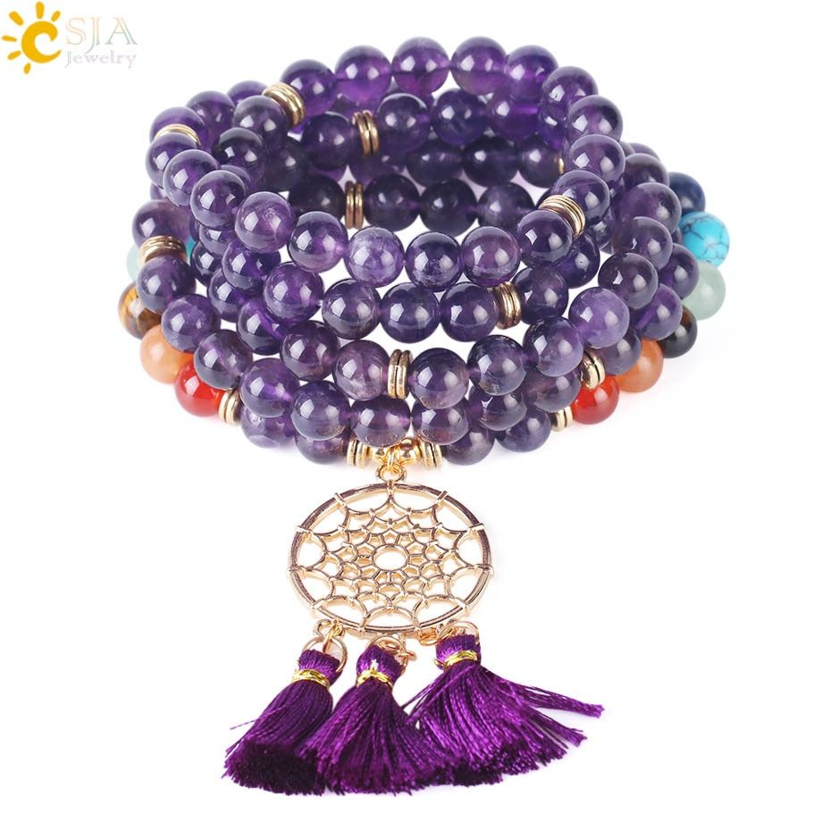 Csja japamala 108 mala beads 8mm natural stone bracelet dream catcher tassel charm bracelet chakra prayer rosary jewelry f484 #rosaryjewelry