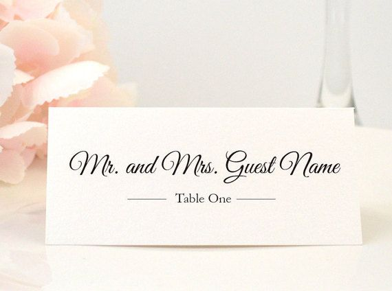 Elegant wedding place card escort card name by redheartpaperco