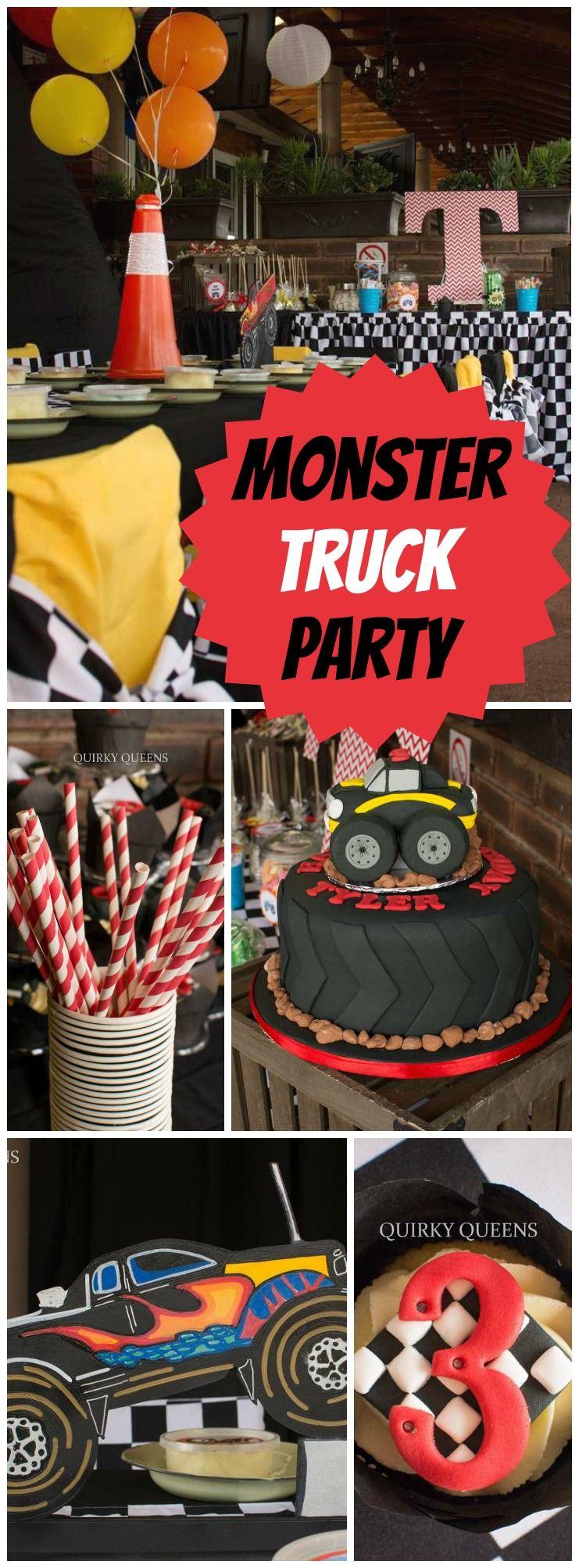 Monster Truck Party Birthday Tyler S Monster Truck Party Catch My Party Monster Trucks Birthday Party Monster Jam Birthday Party Cars Birthday Parties