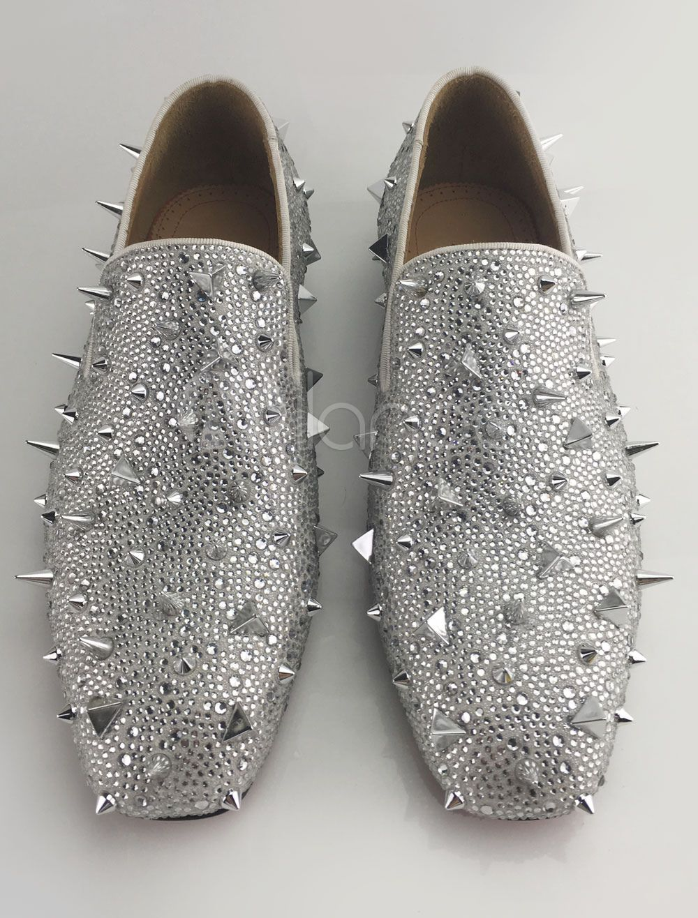 f686f84aa74 Silver Men Loafers 2018 Prom Shoes Leather Glitter Rivets Slip On Spike  Shoes