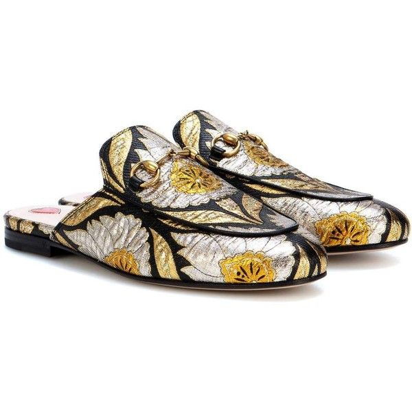 f30e491708f Gucci Princetown Jacquard Slippers (€645) ❤ liked on Polyvore featuring  shoes