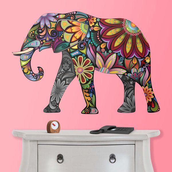 Stickers muraux l phant indien dessins divers elefante hindu elefantes et hind es - Elephant indien dessin ...
