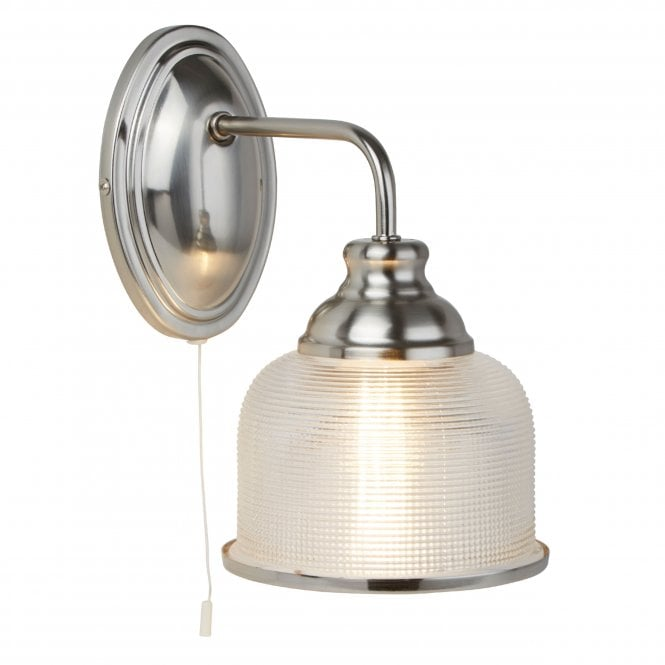 P The Nbsp Bistro Ii Satin Silver Wall Light From Searchlight Has A Beautiful Textured Holophane Glass Shade S Wall Lights Silver Walls Wall Light With Switch