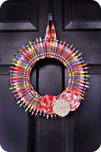 Crayon wreath...so cute!
