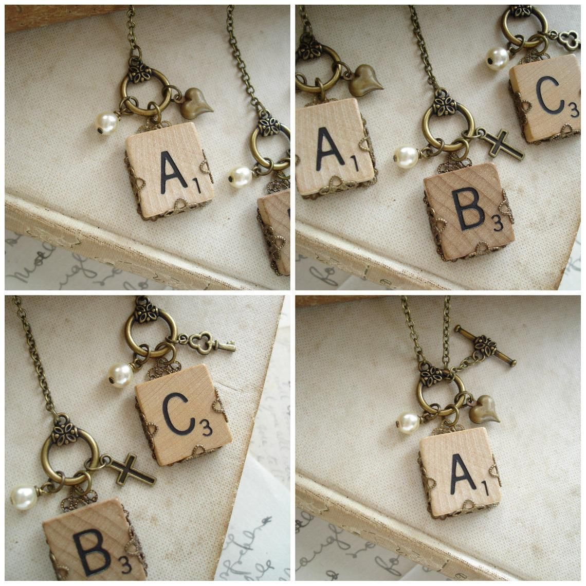 Scrabble Letter Necklace. Personalized Initial Necklace