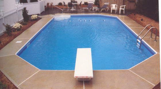 Semi Inground With Cool Deck And Diving Board Semi