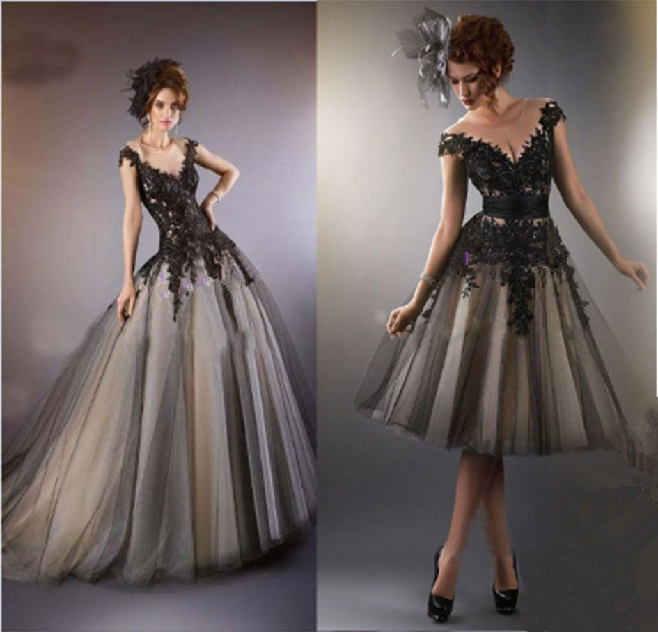 Long Short Black Lace Wedding Dress Bridesmaid Prom Formal Ball Gown Stock Size