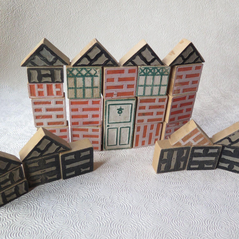 Miraculous Vintage Wooden Blocks House Building Reversible Bricks Door Home Interior And Landscaping Mentranervesignezvosmurscom