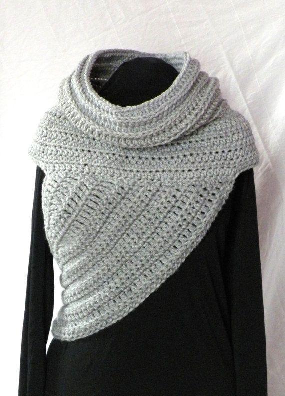 Crochet Pattern Huntress Cowl Shawl Asymmetrical Crossbody Vest