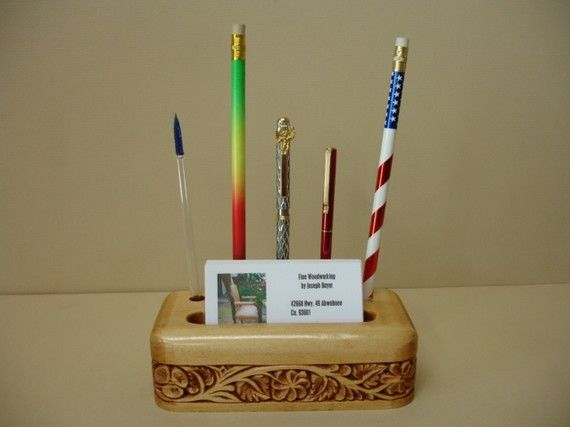paper weight business card and pen display hand carved