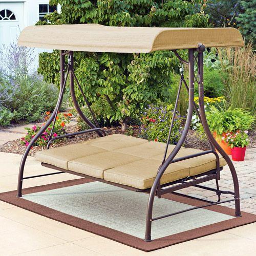 Mainstays Lawson Ridge Converting Outdoor Swing Hammock Tan Seats