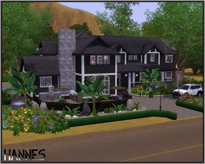 Black Elegance Family House By Hannes16 Sims 3 Downloads Cc Caboodle Sims House Family House Sims