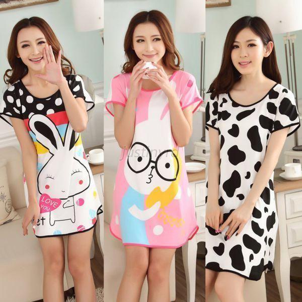 Cartoon Elements Sleep Wear Short-Sleeved Nighty Nightdress Home Wear for Teenagers Girls