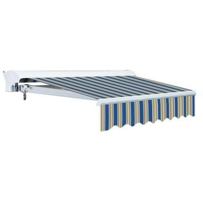 Advaning 16 Ft Luxury L Series Semi Cassette Electric W Remote Retractable Patio Awning 118 In Projection Blue Beige Stripes Ea1610 A447h2 Patio Awning Patio Awning