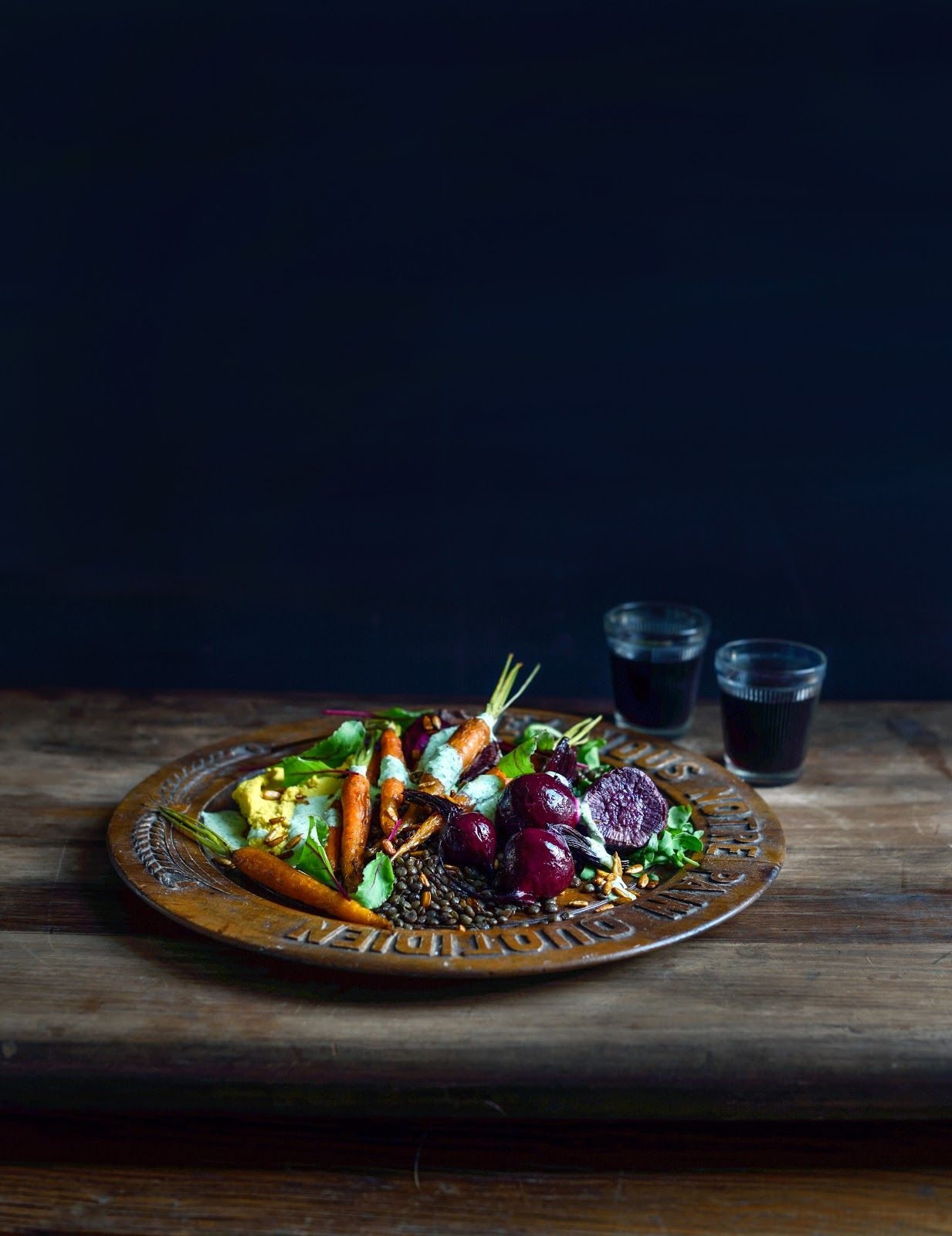 From The Kitchen: Autumn Potager Vegetable Salad with Hummus, Lentils and Herby Feta Dressing