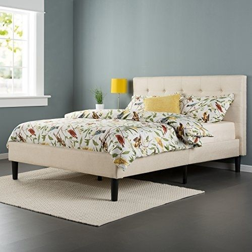 Classic Queen Size Button Tufted Upholstered Taupe Platform Bed