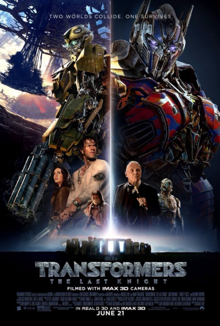 Transformers The Last Knight Gets A New Movie Poster Featuring Two Worlds Colliding And One Surviving Last Knights Transformers Movie Transformers