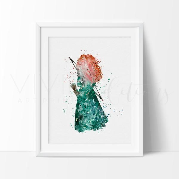 Princess Merida Nursery Art Print Wall Decor. Affordable handmade nursery art prints that compliment any style nursery project you have in mind.