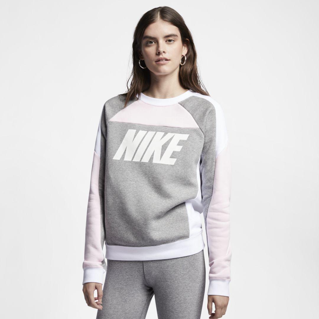 1dcbc51f Nike Sportswear Women's Fleece Color-Block Crew Size XL (Pink Foam) Heather  White