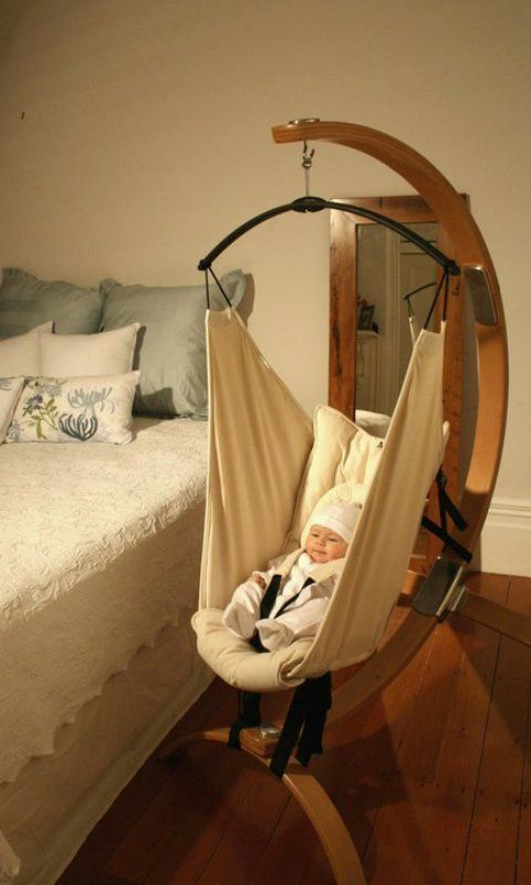 wooden stem baby hammock   gentle relaxation for the baby knowing that every thing is in full view safe for new borns with a cushioned head support and     i have been very questionable about these hammocks but this one      rh   pinterest co uk