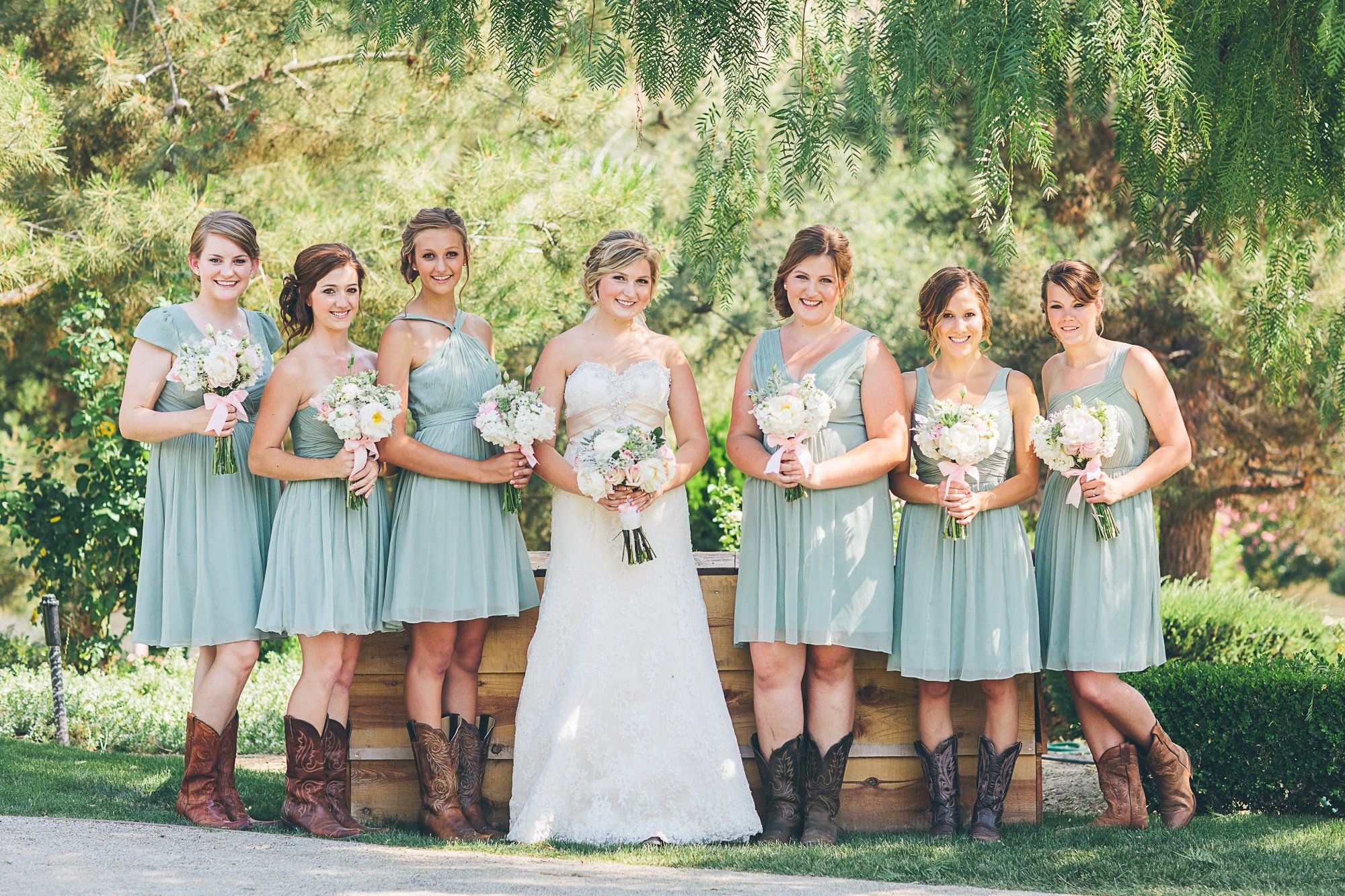 Mismatched dusty shale bridesmaids dresses by j crew mixed with