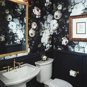 Powder Room With Black Wainscoting Wallpaper Trends Statement Wallpaper Room Wallpaper