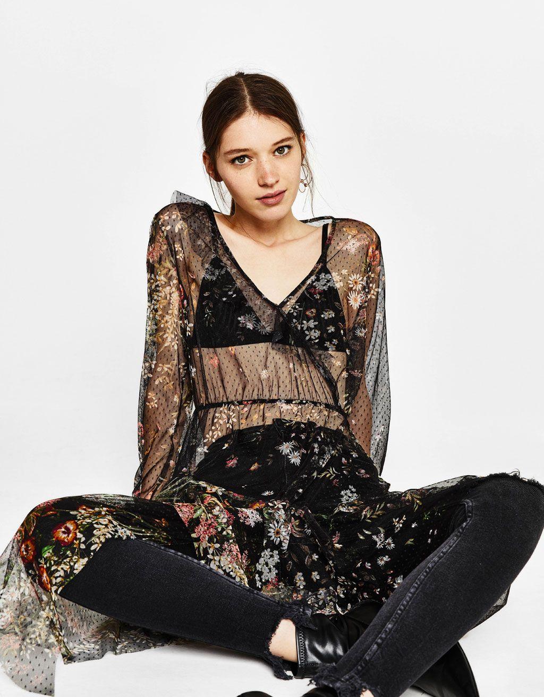 08047d1968 Bershka Mexico - Vestido de tul con estampado de flores