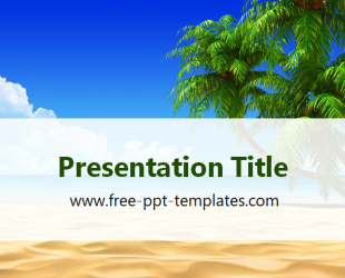 Tropical Beach Or Summer Vacations PowerPoint Template Is A White Template  With An Image Of Tropical