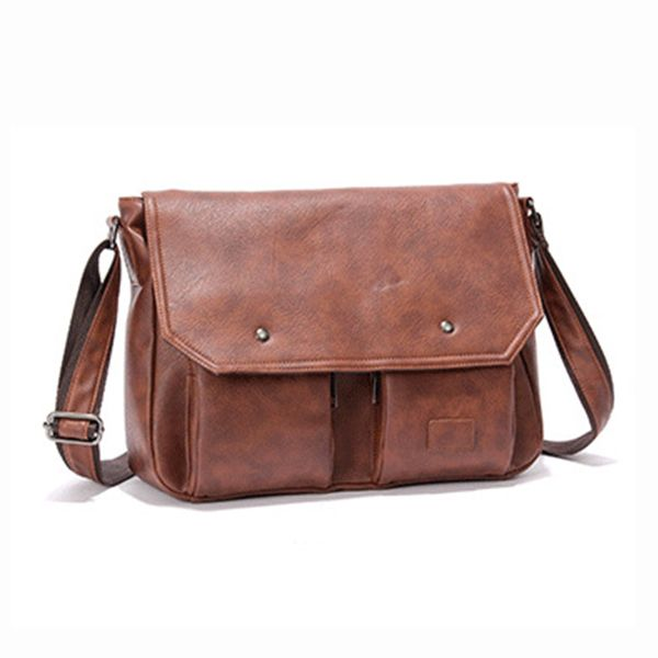 Men Pu Leather Messenger Bag Large Capacity Business Shoulder Worldwide Delivery Original Best Quality