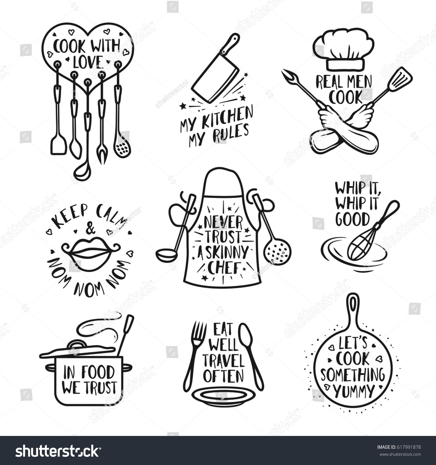 hand drawn kitchen quotes set phrases and funny sayings about cooking food wall decor art on kitchen quotes funny id=96189