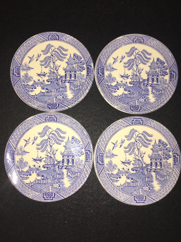 Vintage Pottery English Ironstone Tableware Ltd Blue Willow Pattern x 4 Coasters circa 1980 11.25cms & Vintage Pottery English Ironstone Tableware Ltd Blue Willow ...