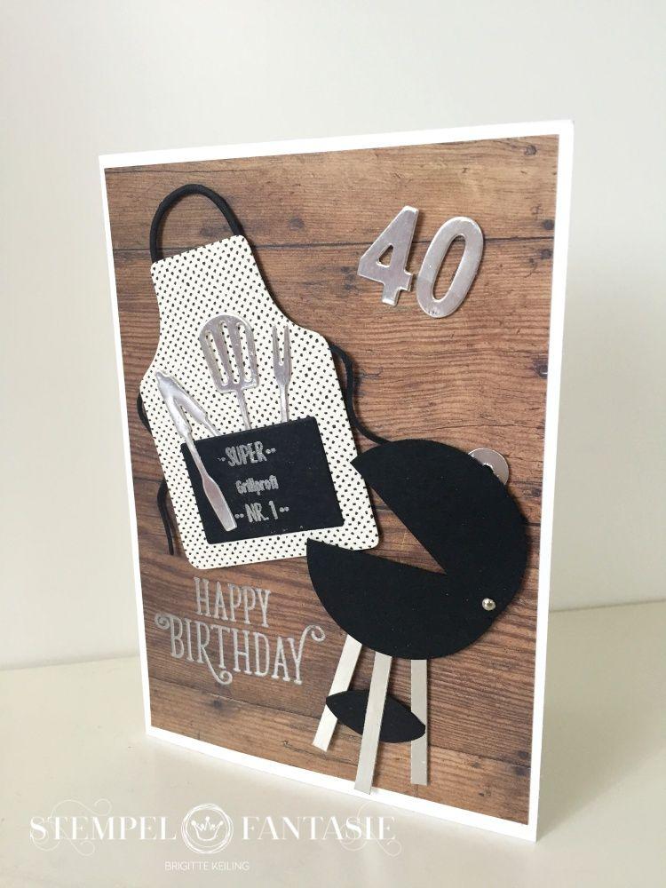 Geburtstagskarten Selber Machen Fur Manner.Manner Karte Fur Einen Grillprofi Cards Punches Dies
