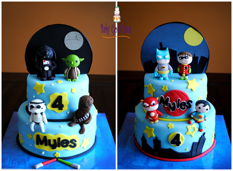 Star WarsSuperheroes Two Sided Cake Boys Birthday Cakes
