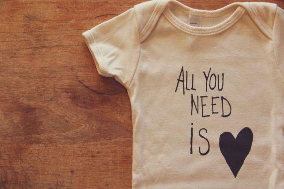 Natural 100 Organic Cotton Onesie | All You Need is LOVE by milliedot #Baby #Gift