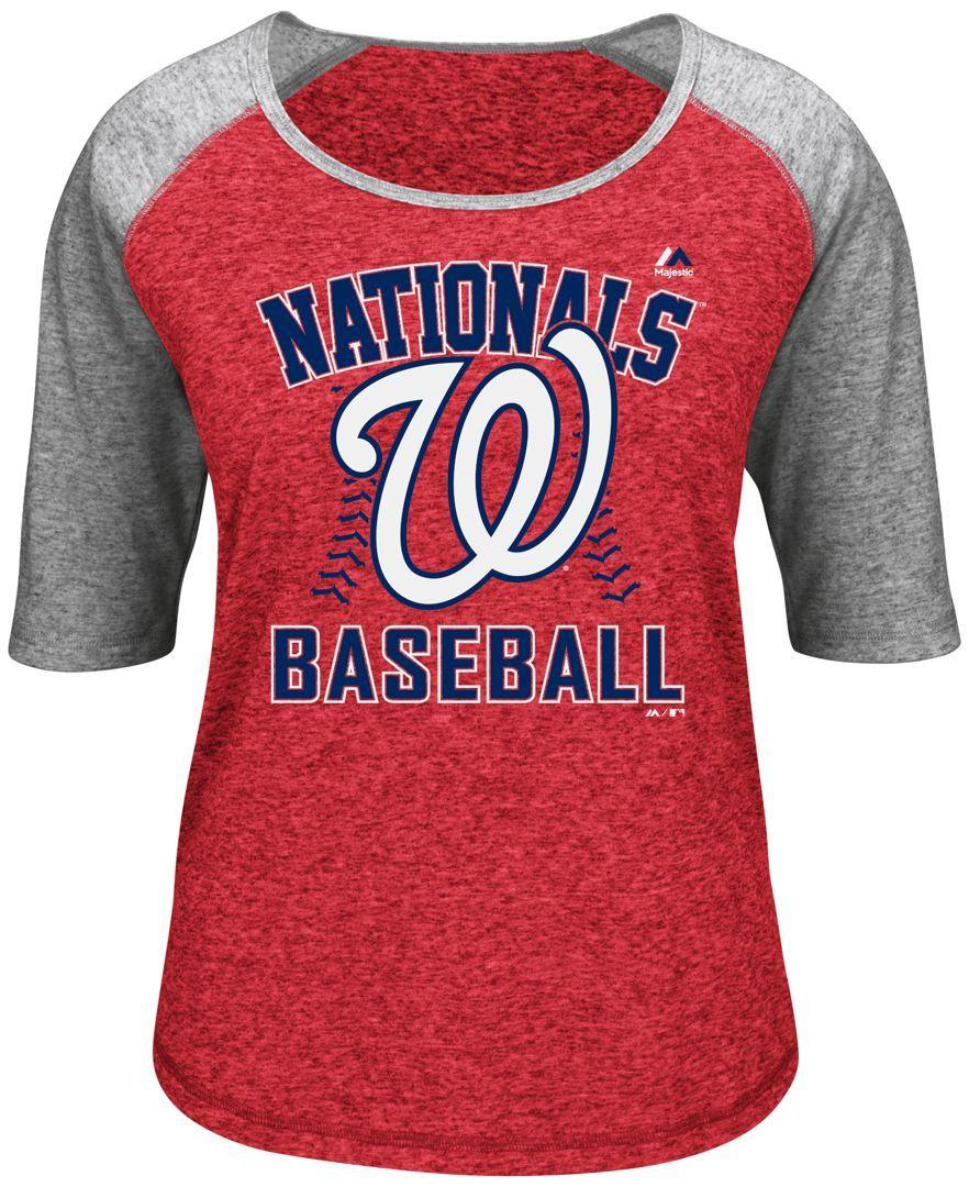 Majestic Women s Three-Quarter Sleeve Washington Nationals T-Shirt ... 08c1c64427