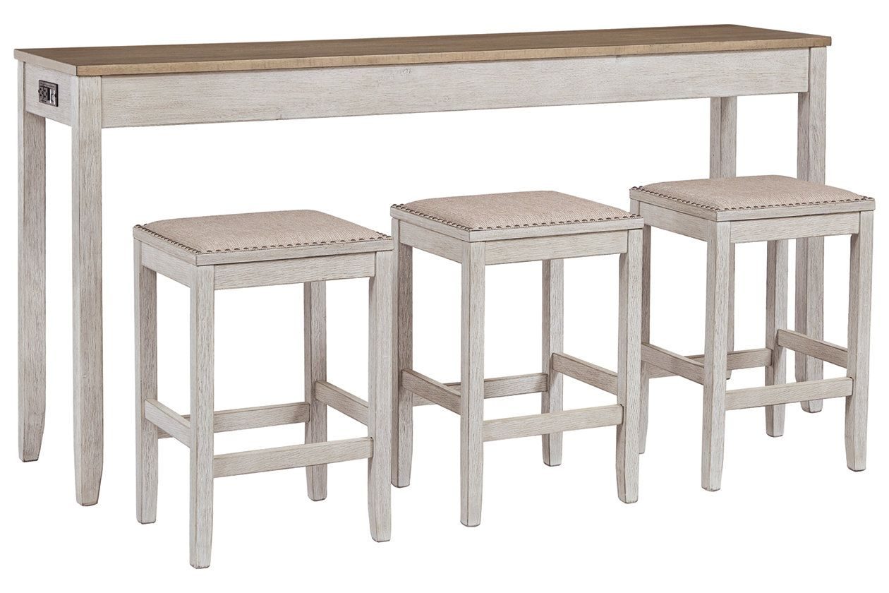 Skempton Counter Height Dining Table And Bar Stools Set Of 3 Ashley Furniture Homestore Counter Height Dining Room Tables Counter Height Table Bar Stools