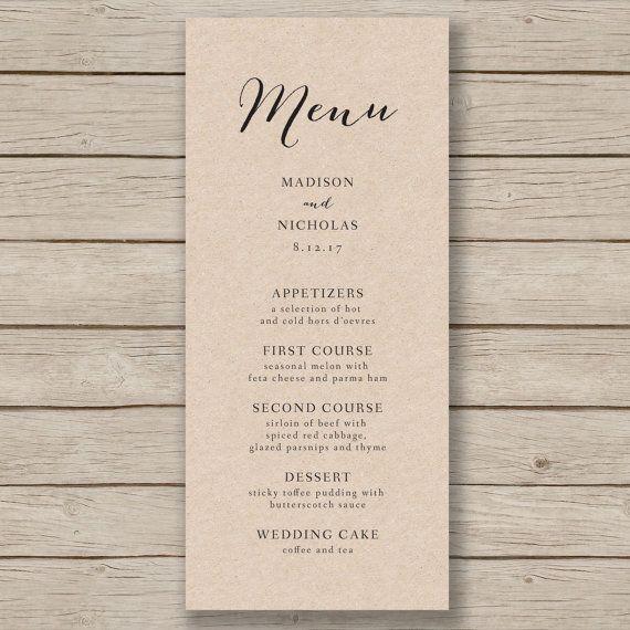wedding menu template rustic wedding menu printable menu you