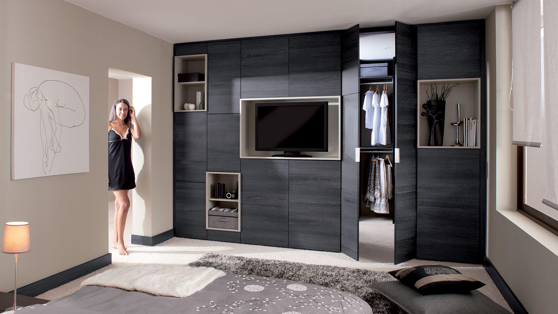 Dressing Chene Gris Cuisinella Avec Images Dressing Chambre
