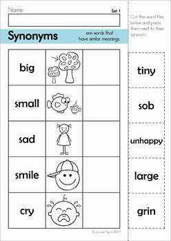 synonyms matching center and cut and paste worksheets  homeschool  synonyms matching center and cut and paste worksheets