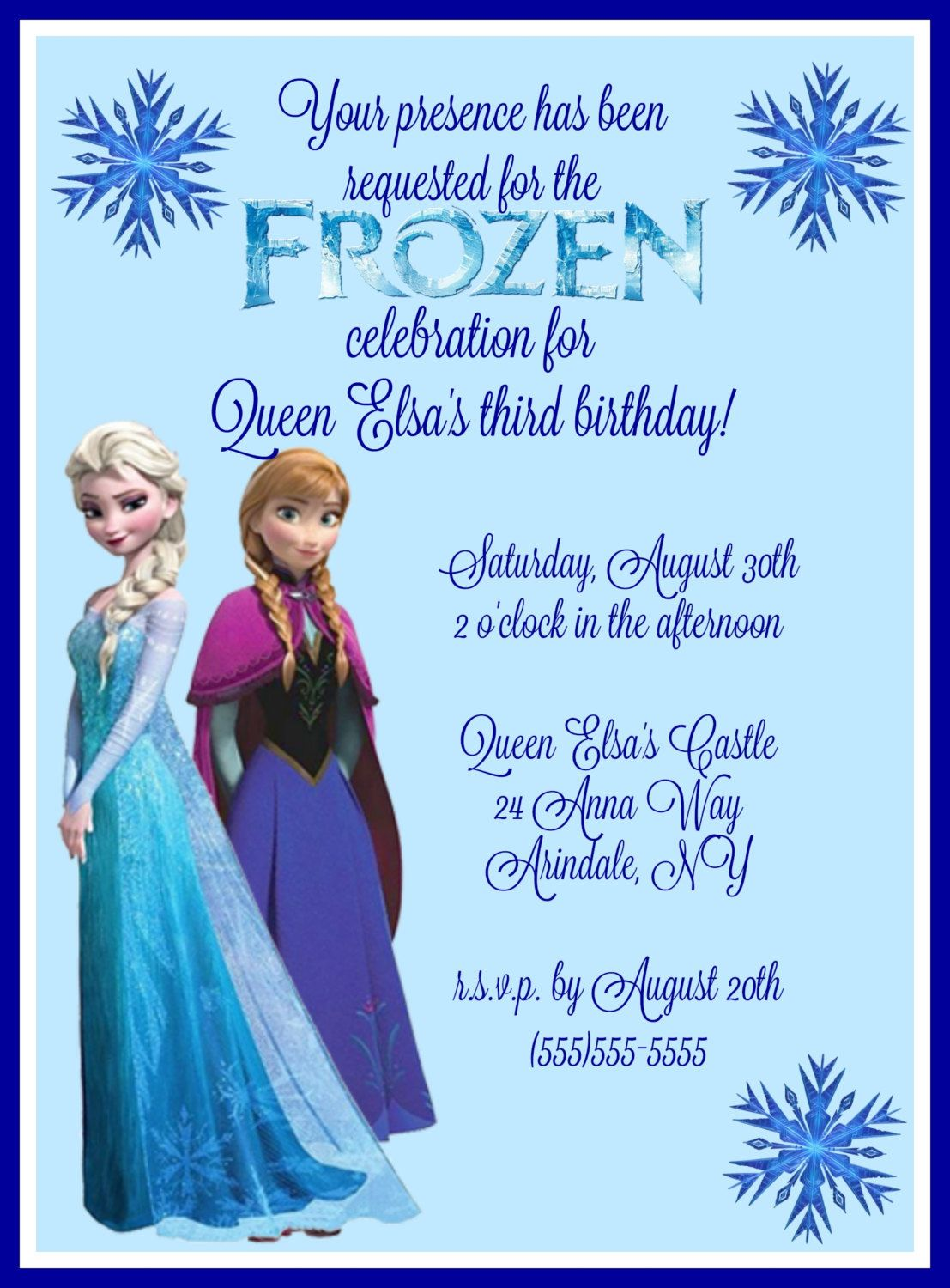 Frozen Birthday Party Invitation digital download by