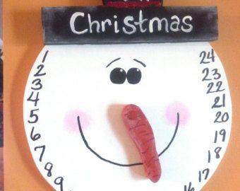 Muñeco de nieve cuenta atrás para la Navidad del colgante de pared / calendario…