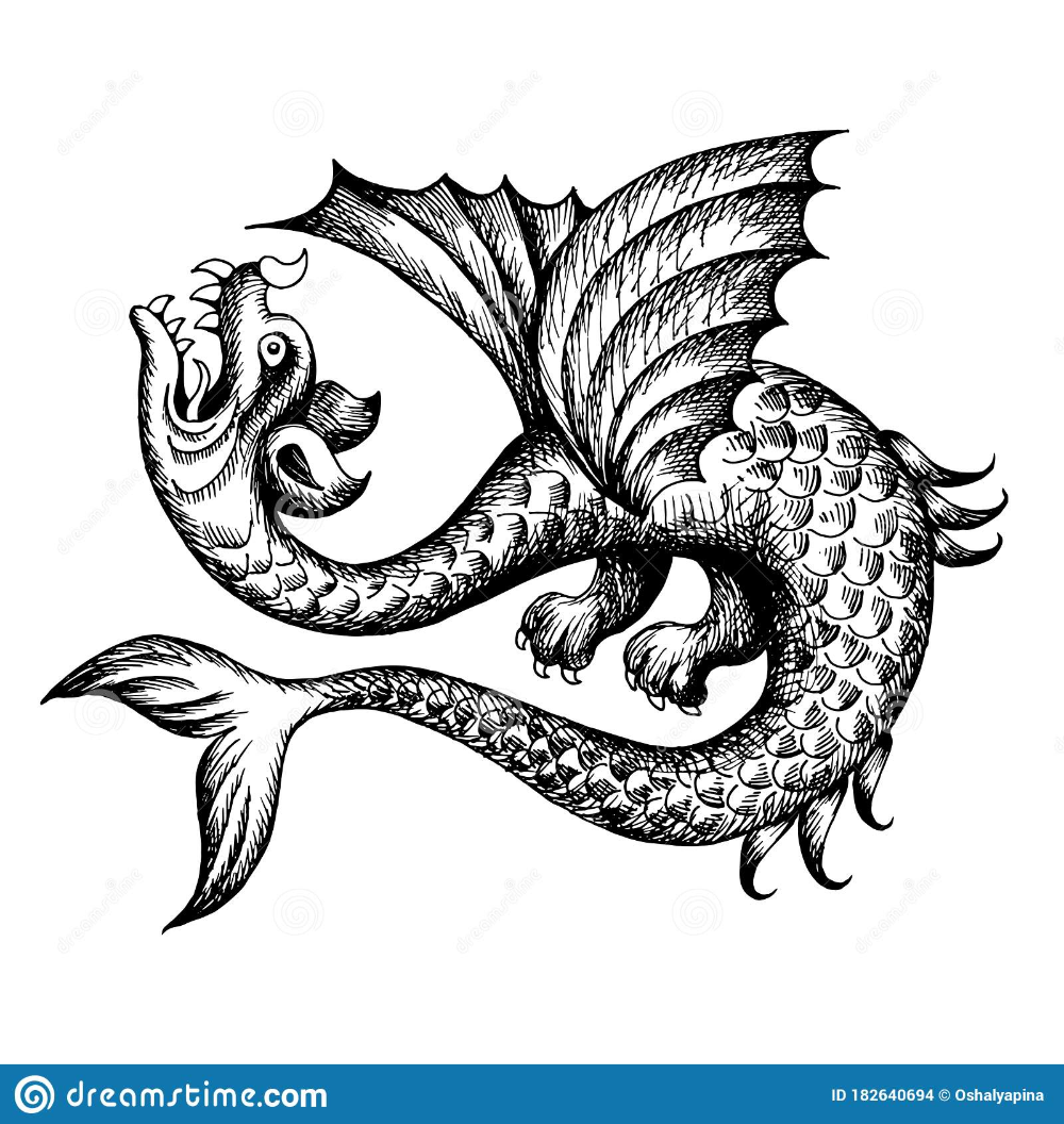 Illustration About Mythological Vintage Sea Monster Fragment Of Decoration Old Pirate Map Hand Drawn Sketc Dragon Illustration World Map Tattoos Sea Monsters