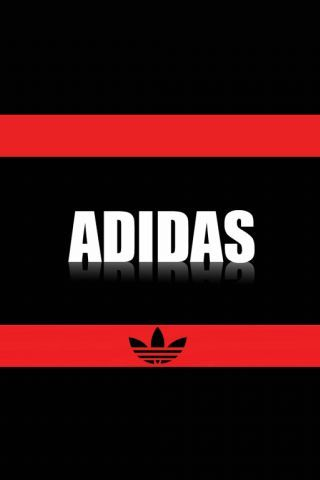 Adidas Logo Black & Red Background iPhone Wallpaper