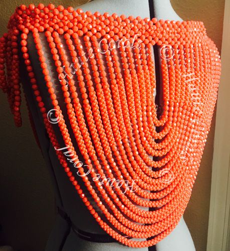 chineye nigerian traditional coral shoulder beads is a standout beauty in typical hautecorals statement style