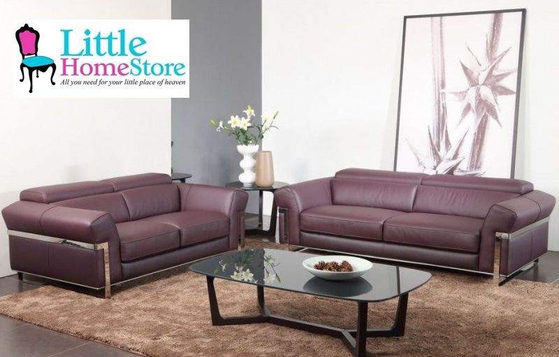 The Elma Purple Leather Sofa Is A Trendy 2 Seater Top Grain Leather And A Kiln Dried Hardwood Frame Which Has B Leather Corner Sofa Sofa Handmade Leather Sofa