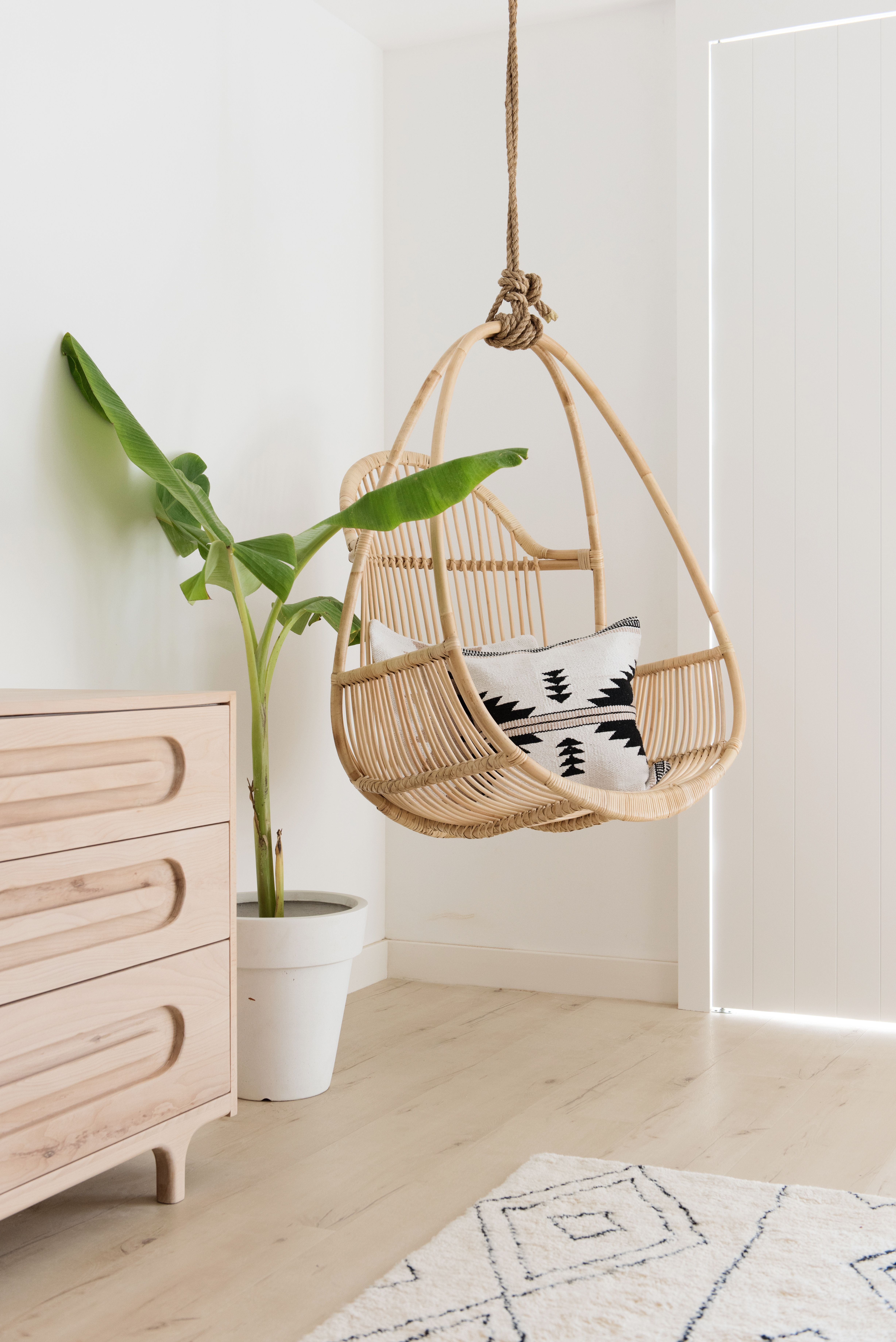 Swing Chair Hanging Chair Boho Chair Floating Chair Rattan Chair Boho Design Australian Home Style Light Floating Chair Hanging Chair Light Wood Dresser