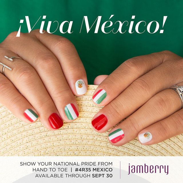 Celebrate #Mexico #IndependenceDay with #Jamberry! These cute nail ...