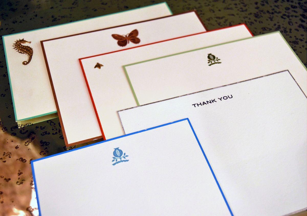 HAWTHORN Bold Modern Letterpress Stationery Set Personalized Flat Note Cards Greenhouse