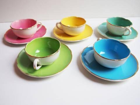 VintageManufacture Service À 5 Tasses Multicolores De Café Digoin 2DE9WHI
