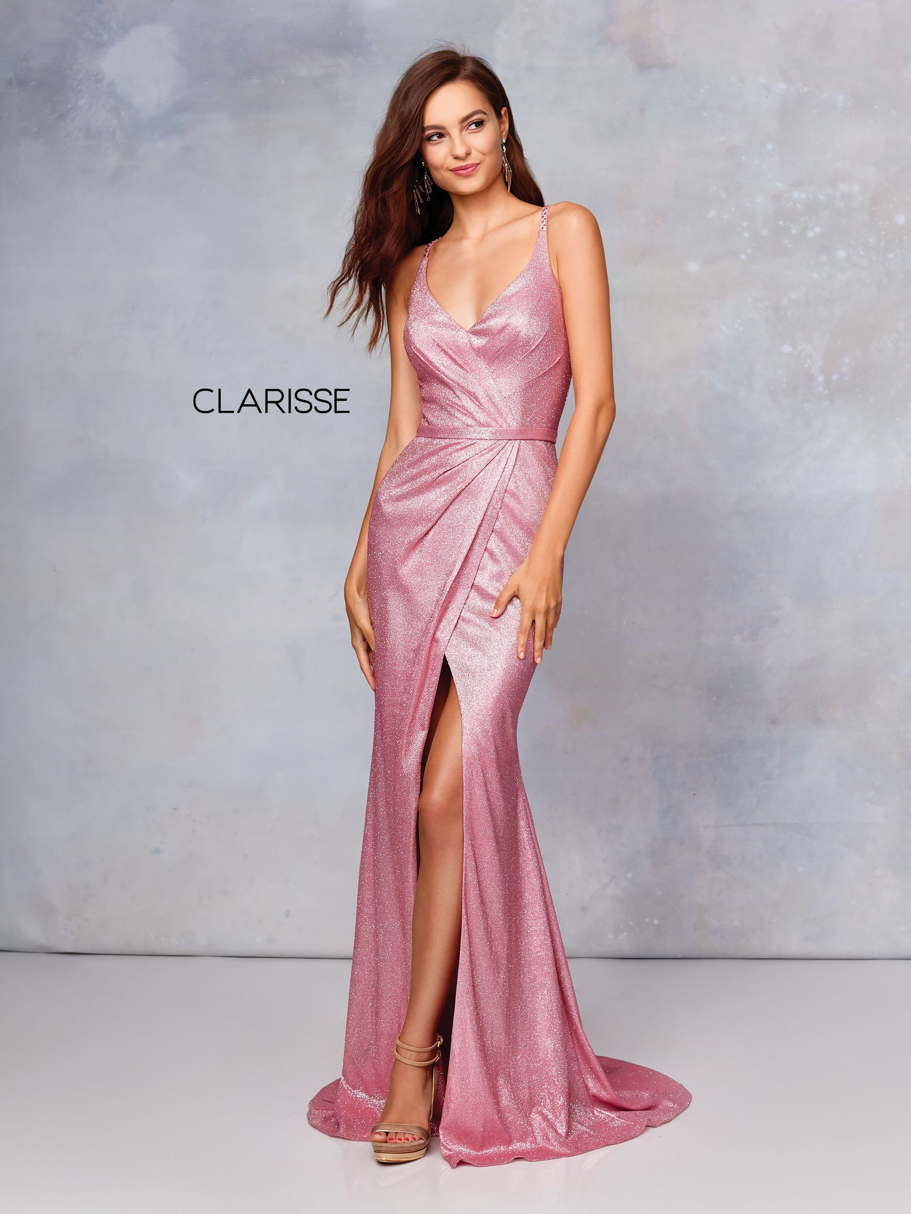 3766 Pink Novelty Prom Dress With A Beaded Strap Back Detail